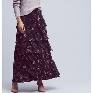 NWOT Anthro Maeve Tiered Floral Maxi Skirt XS
